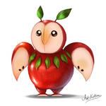 creature doodle #11 apple owl
