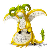 creature doodle #16 yellow pitaya dragon by ArtKitt-Creations