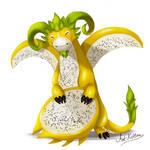 creature doodle #16 yellow pitaya dragon