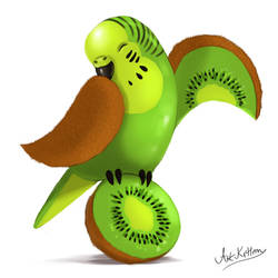 creature doodle #17 kiwi budgie by ArtKitt-Creations