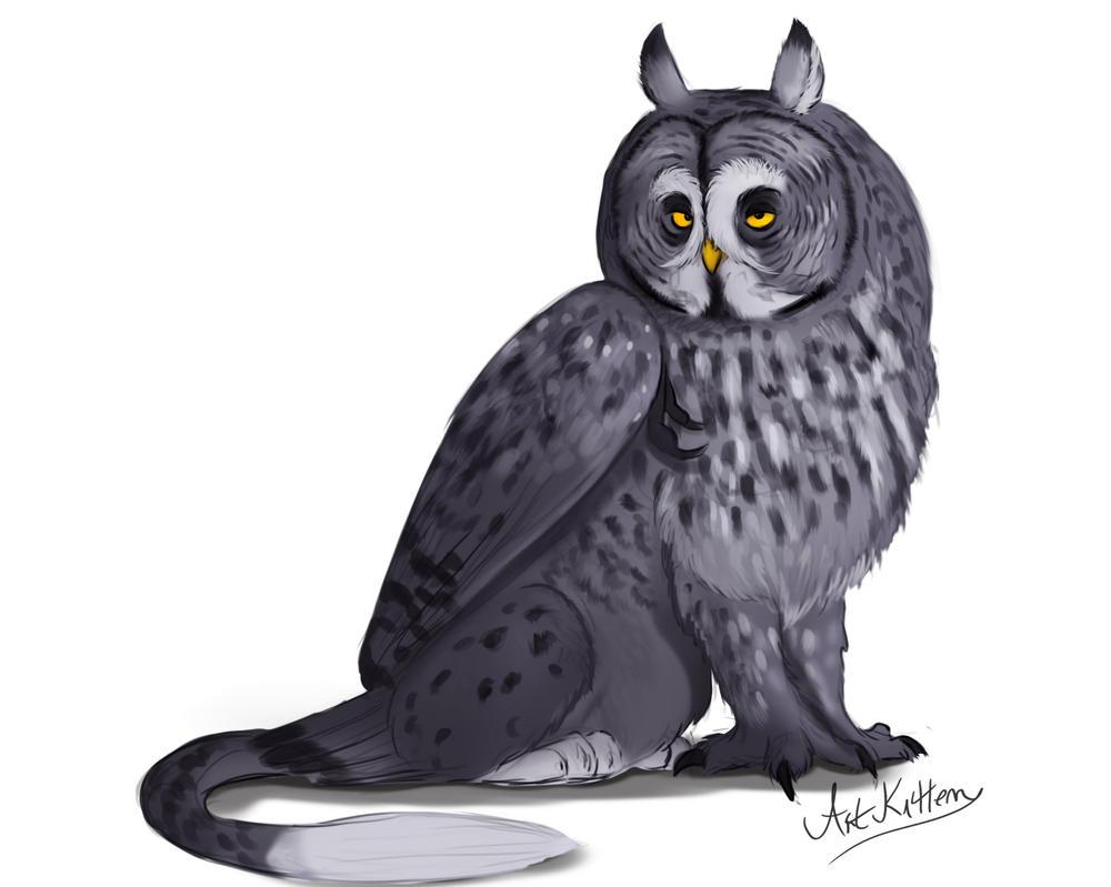 creature doodle #22 great grey owl griffon by ArtKitt-Creations