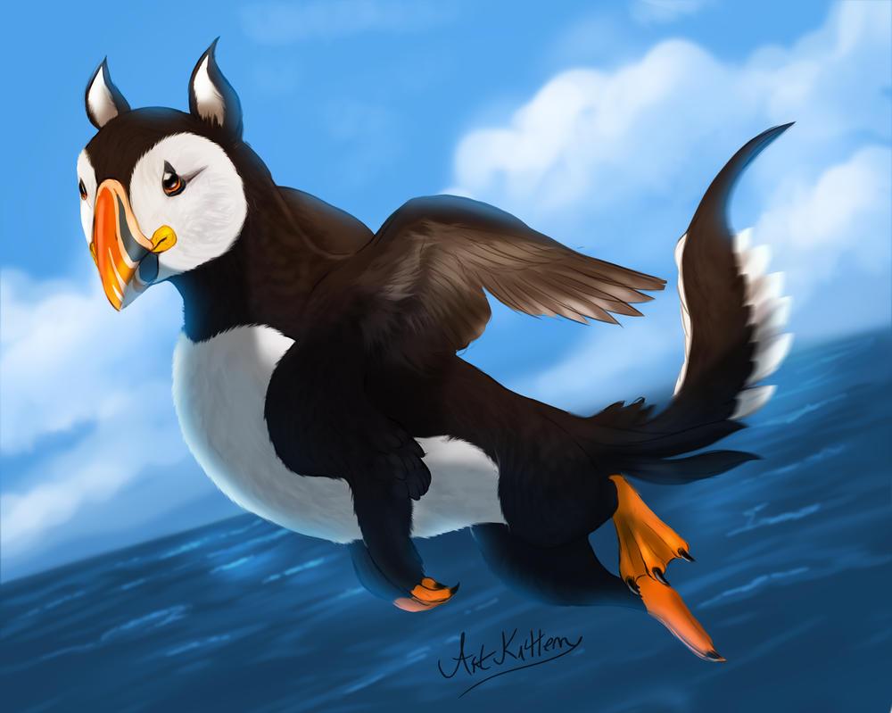 creature doodle #24 puffin griffon by ArtKitt-Creations