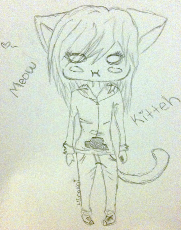 Sketch random cute chibi girl o w o by beast san on for Random cute drawings