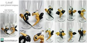 Black and Gold Stemware Dragons
