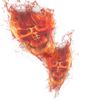 double fire skull png transparant 2