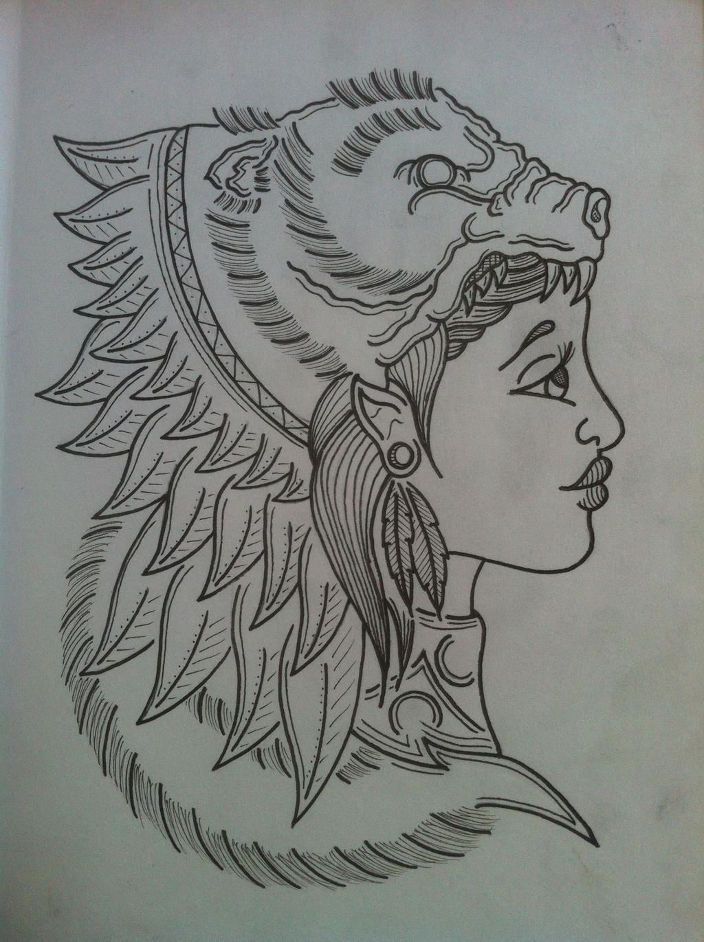 Bear headdress drawing - photo#10
