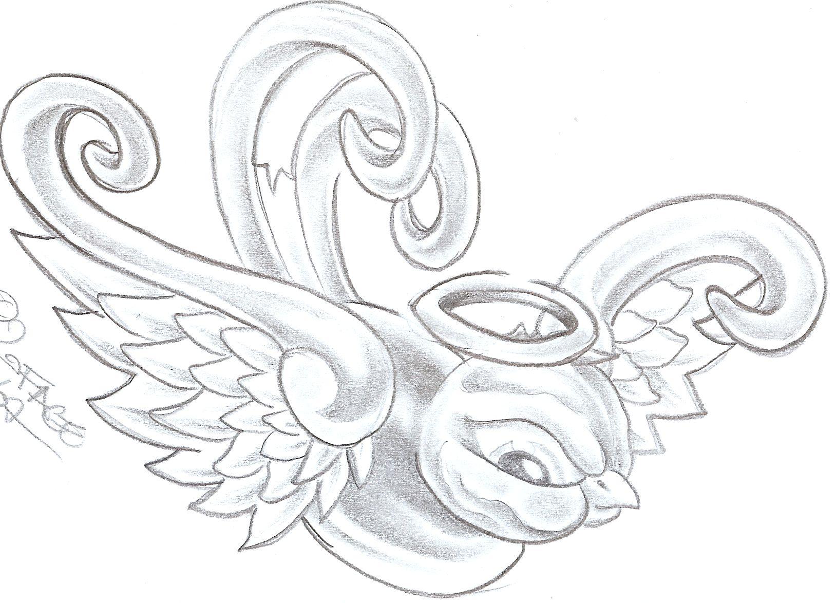 Swallow Angel Tattoo Design
