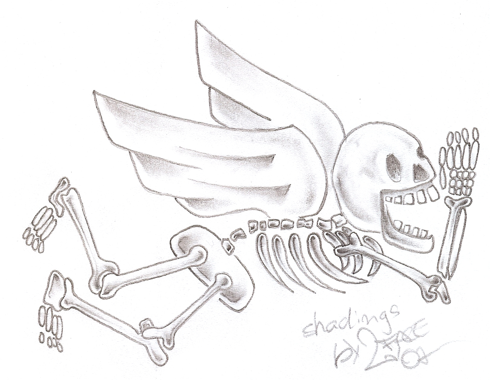 Onkelz flying Skeleton Tattoo