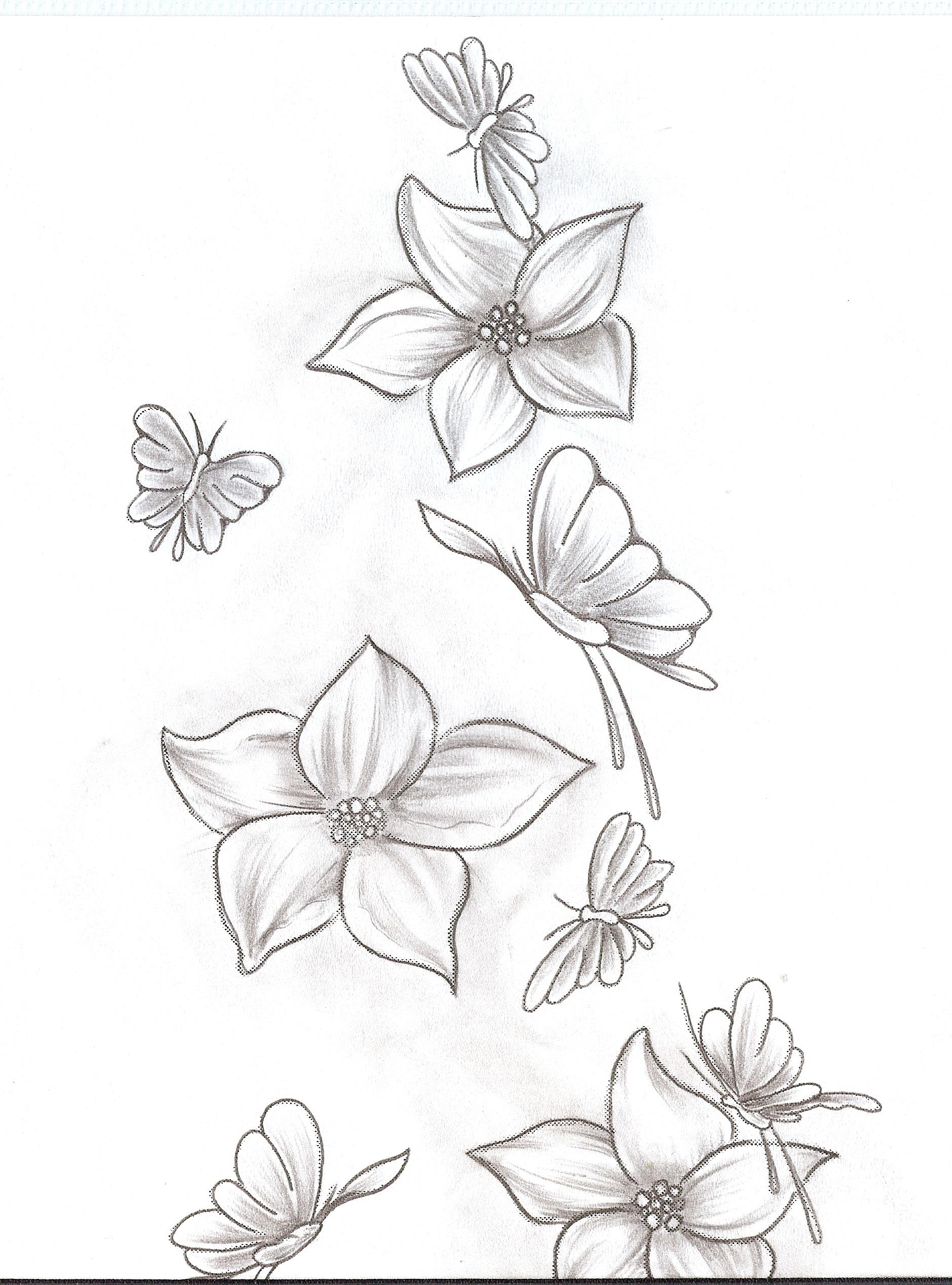 Tattoo Flowers Butterfly 1-2