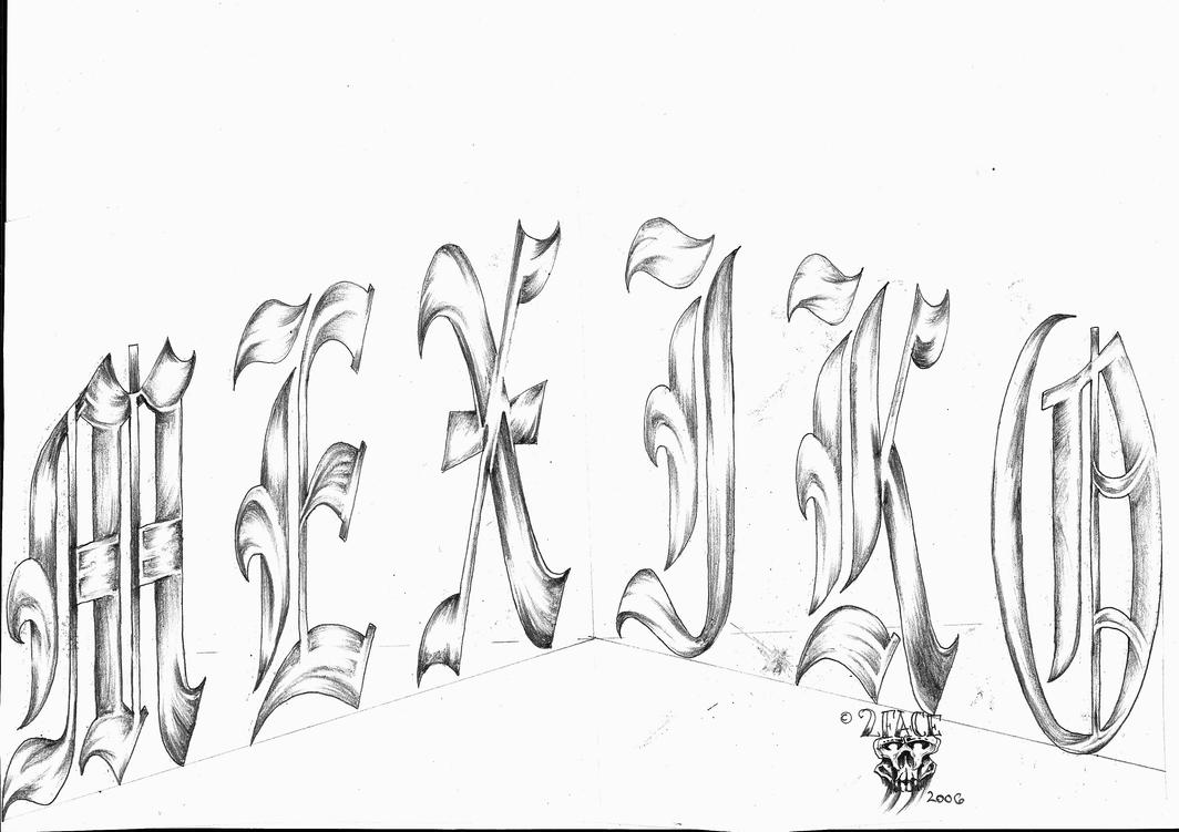 mexiko lettering tattoo design by 2face tattoo on deviantart. Black Bedroom Furniture Sets. Home Design Ideas