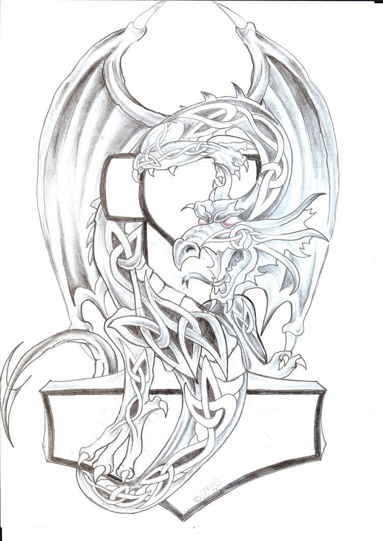 celtic dragon th tattoo design by 2face tattoo on deviantart. Black Bedroom Furniture Sets. Home Design Ideas