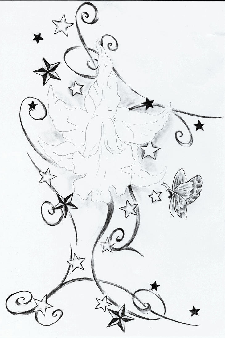 StarsFlowerTribalTattooDesign - flower tattoo
