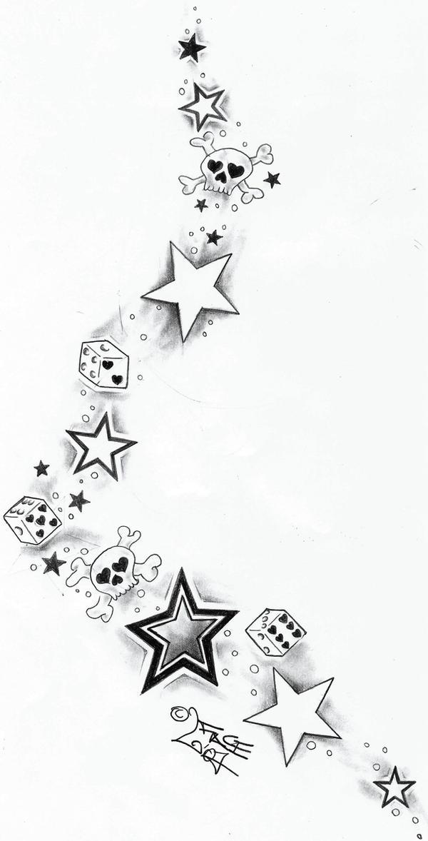 Skull Tattoo Designs Drawings Stars