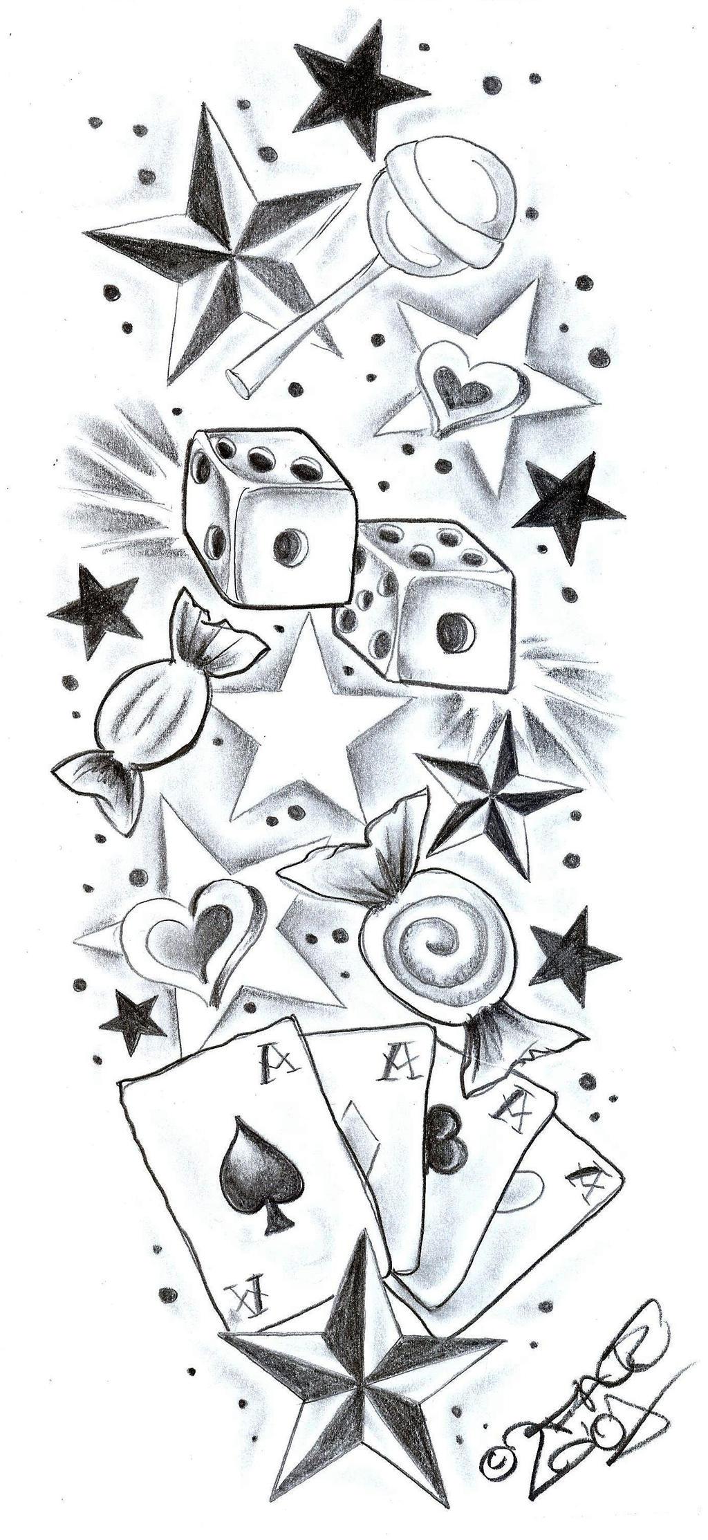 TattooDesign SweetsCherryStars by 2Face-Tattoo on DeviantArt
