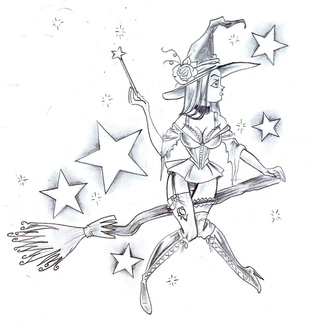 Witch Star Tattoo Design by
