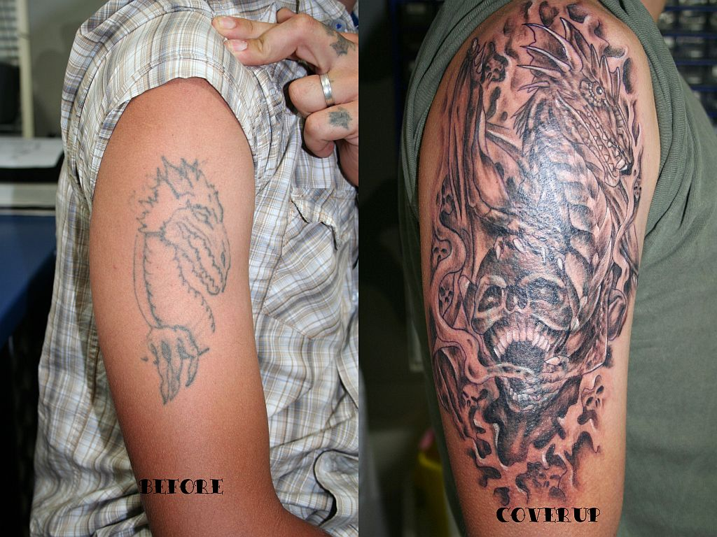 Dragon skull cover up tattoo by 2face tattoo on deviantart for Tattoo cover sleeves