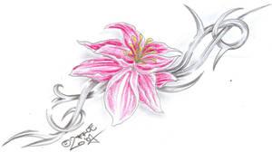 Flower Tribal C. Tattoo Design