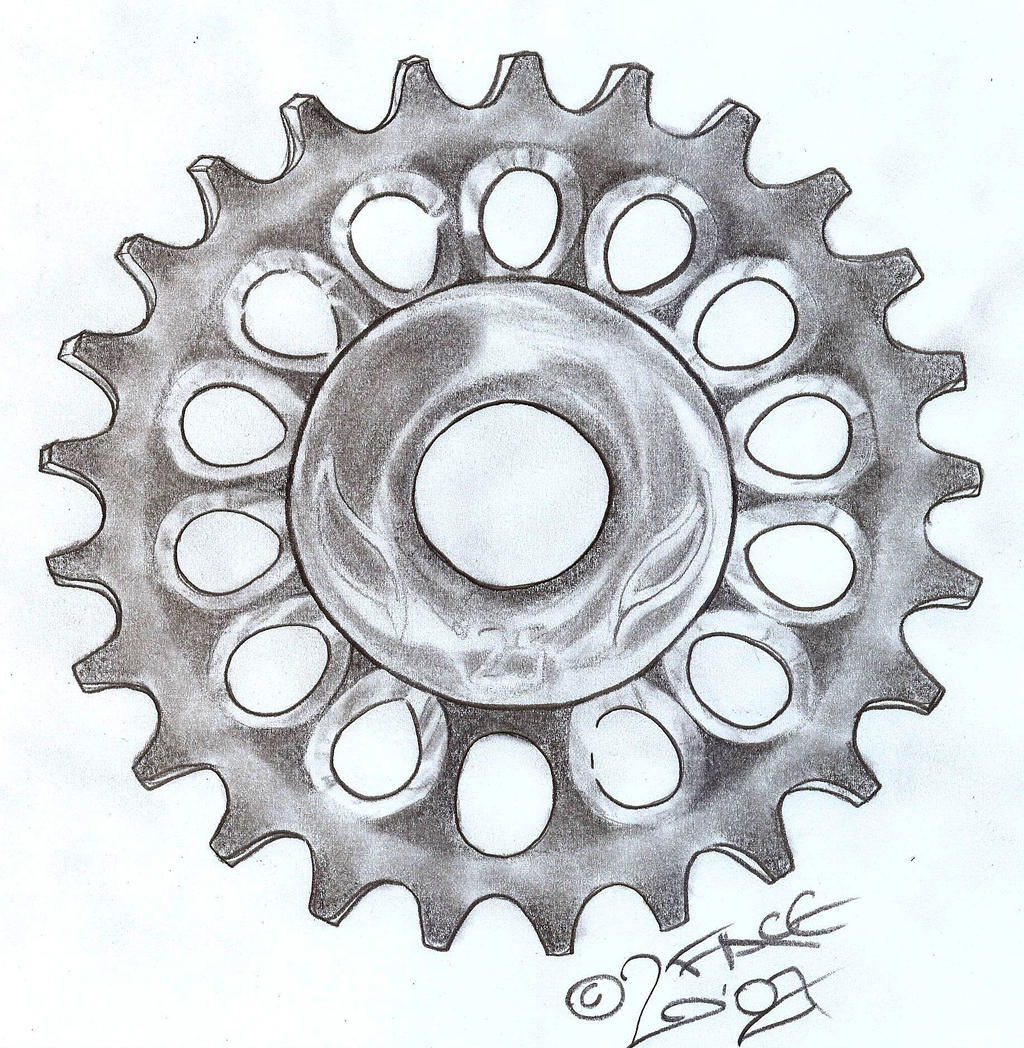 bmx chain gear wheel design by 2face tattoo designs interfaces tattoo    Gear Tattoo Drawing
