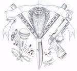 Gang Knife Gun Tattoo Design