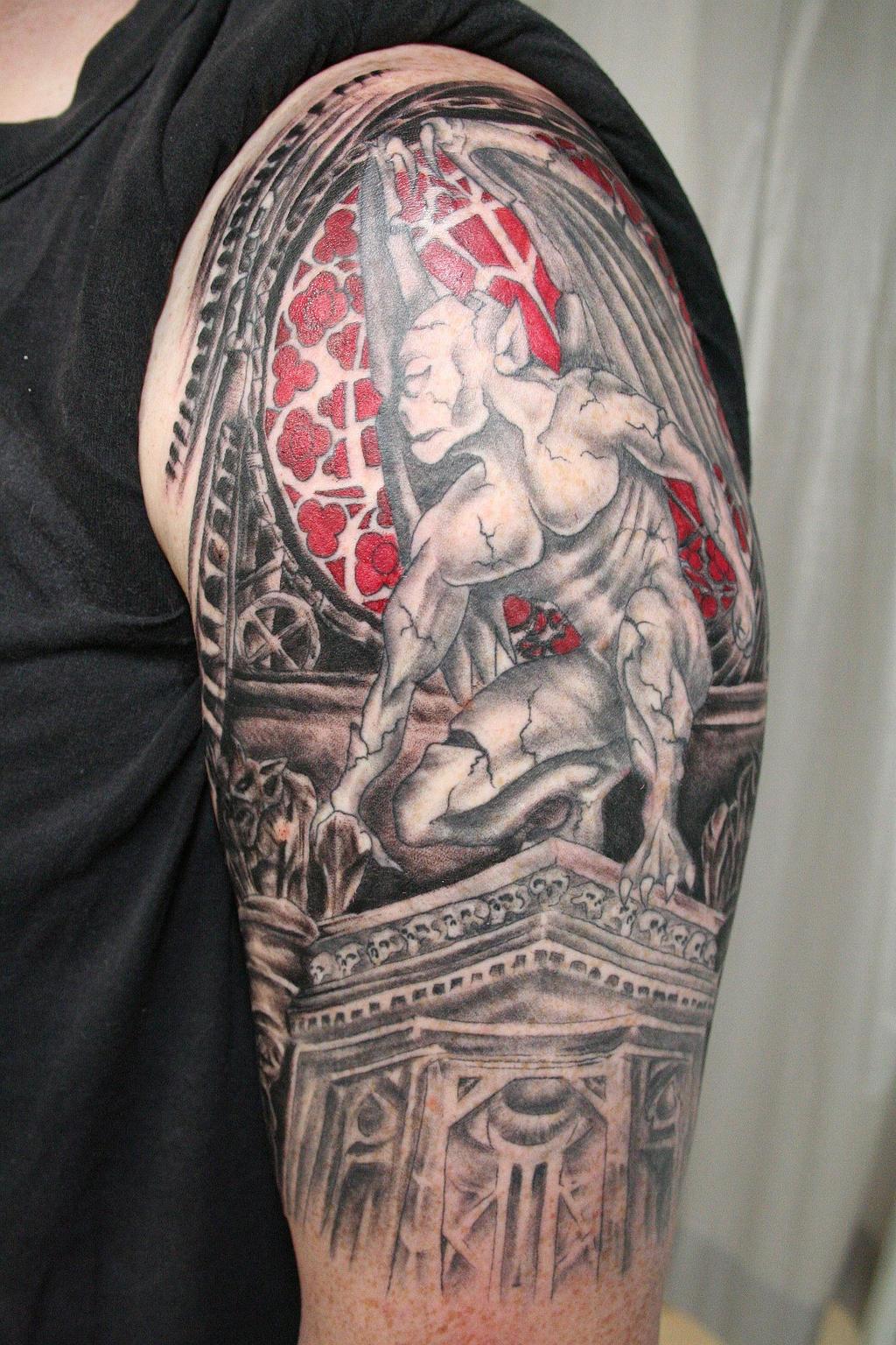 gargoyle theme tattoo by 2face tattoo on deviantart. Black Bedroom Furniture Sets. Home Design Ideas