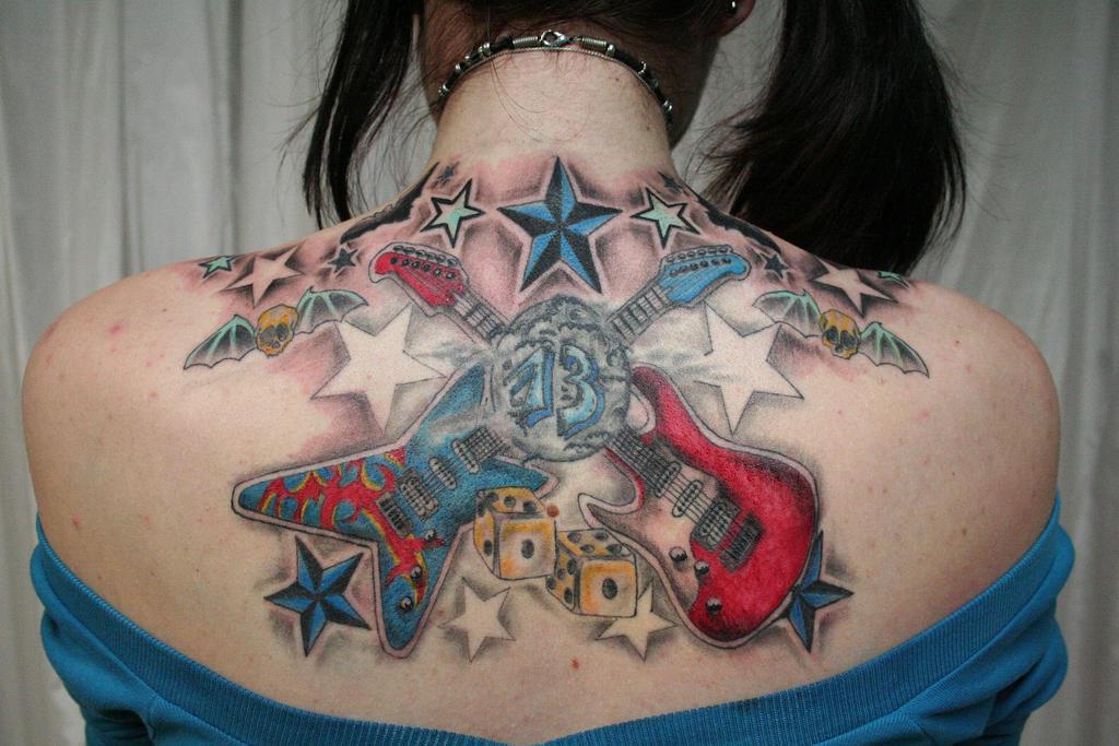 New School Guitar Stars Tattoo