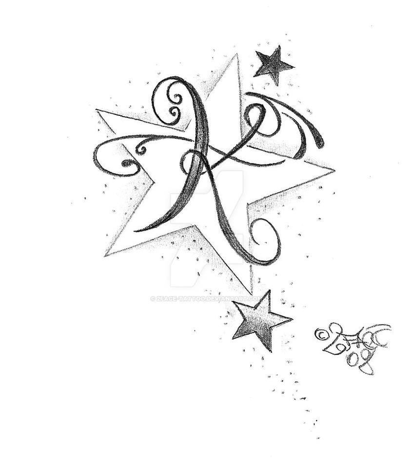 new letter stars tattoo design by 2face tattoo on deviantart. Black Bedroom Furniture Sets. Home Design Ideas