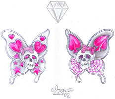 Butterfly Skull Tattoo Design by 2Face-Tattoo