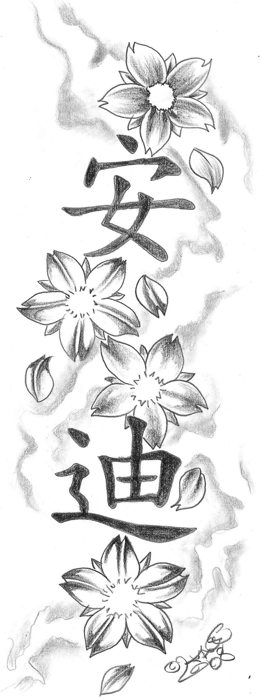 Blossom kanji Tattoo Design