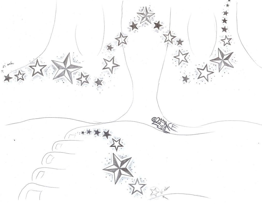Stars on a Feet Tattoo Design