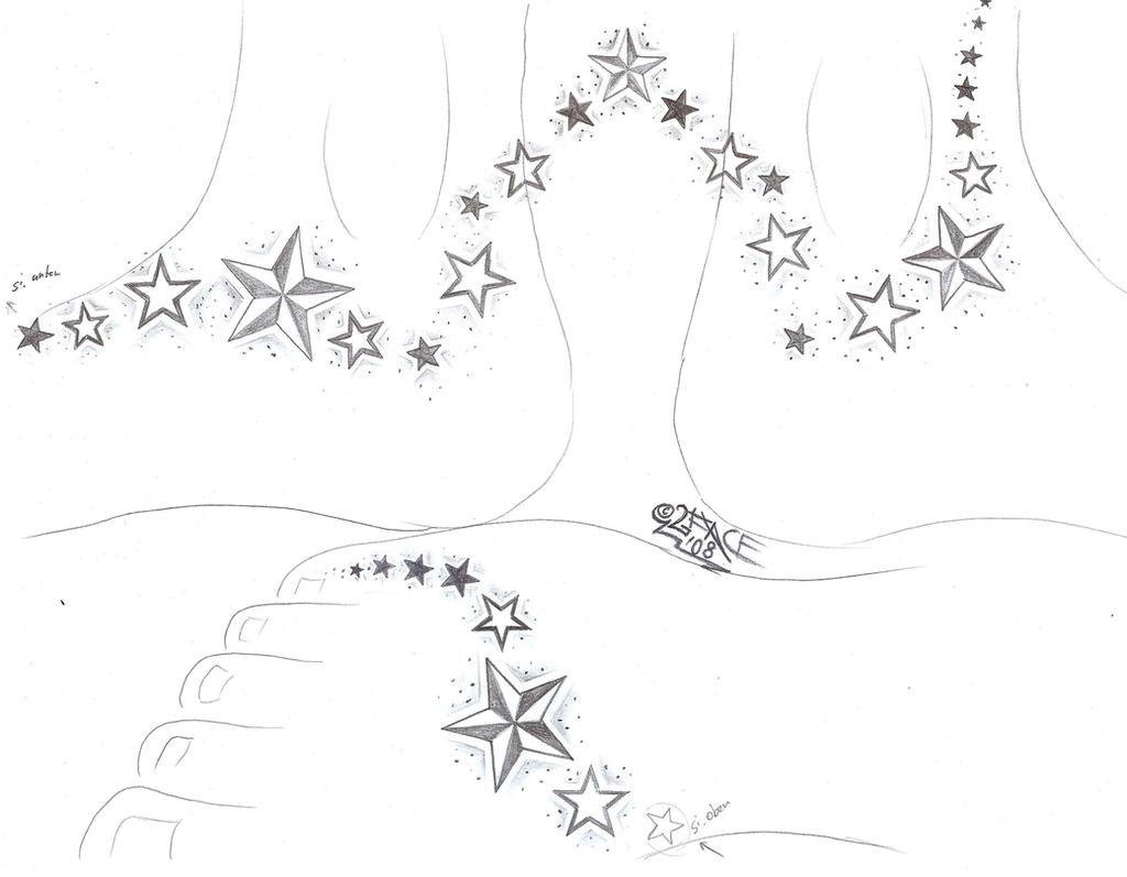 Stars on a Feet Tattoo Design