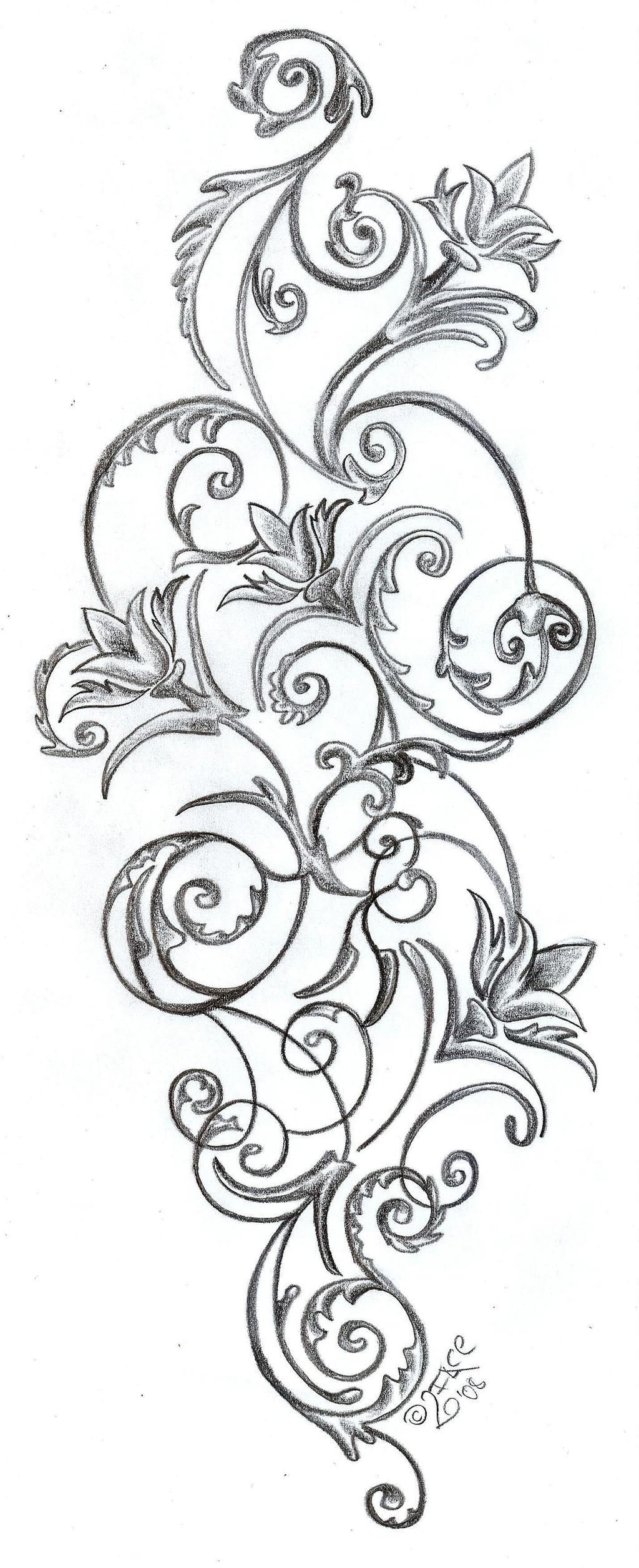 Line Art Flower Tattoos : Flowers ornamentation design by face tattoo on deviantart