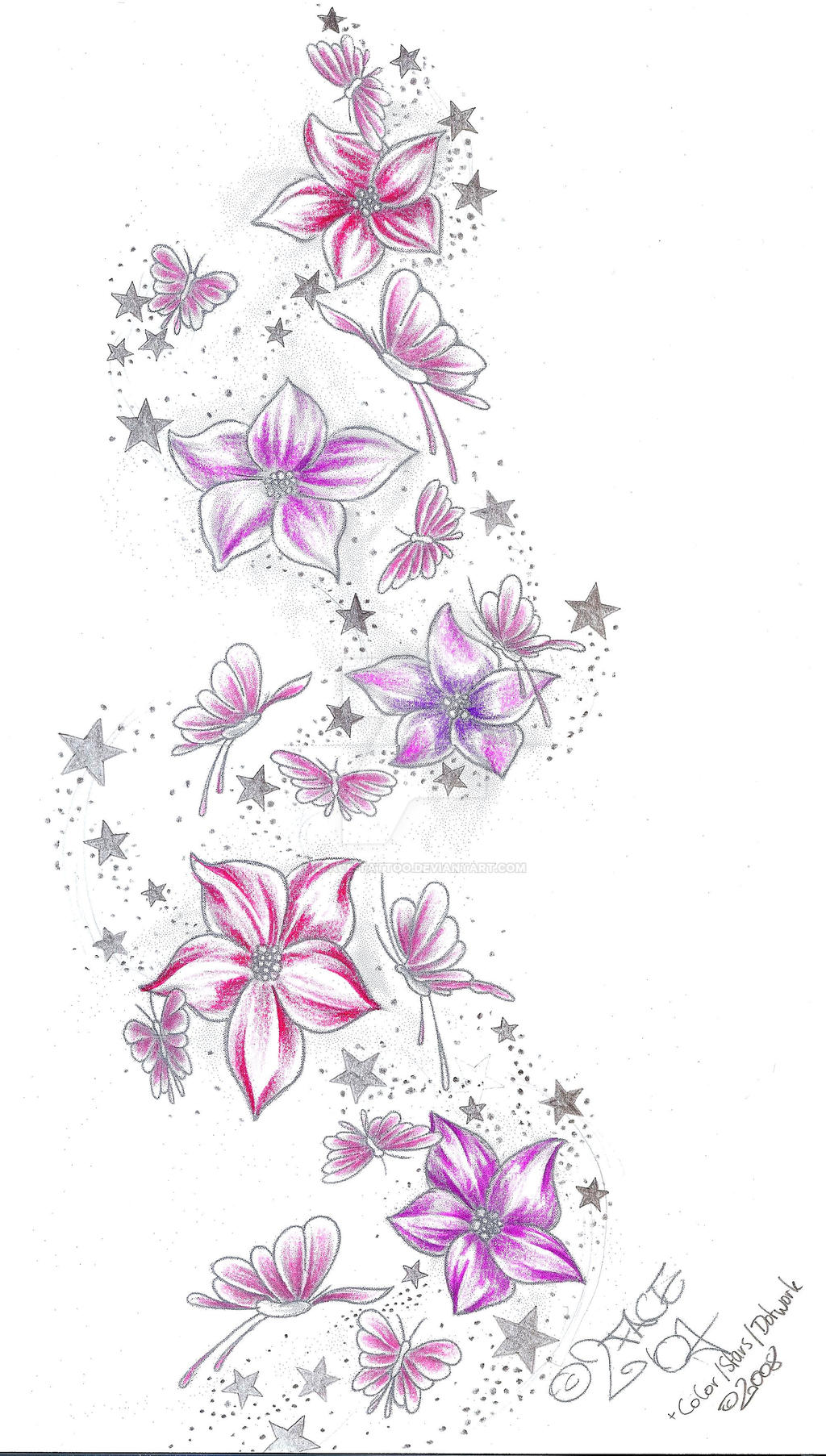 Stars flower butterflies color by 2face tattoo on deviantart for Star and flower tattoos