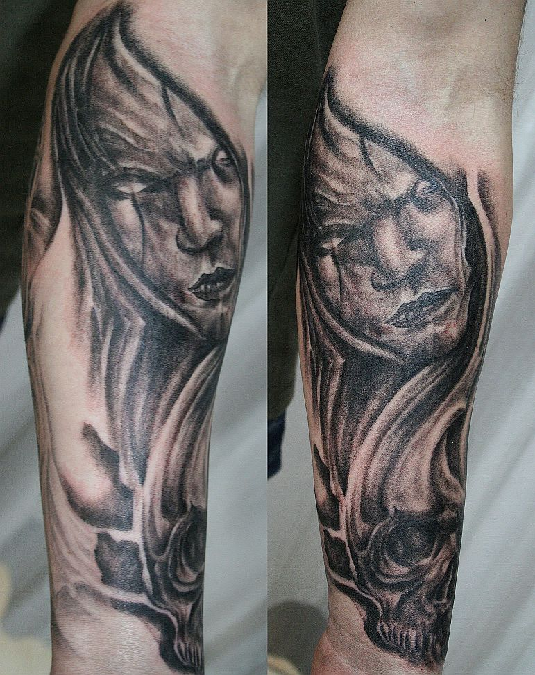 ( after) skull sleeve tattoo 3 by tatzbyjustin. From tatzbyjustin