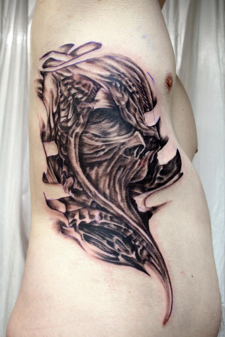 Ribs Skull Tattoo by 2Face-Tattoo