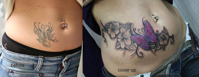 Butterfly Flower Cover up TaT by 2Face-Tattoo