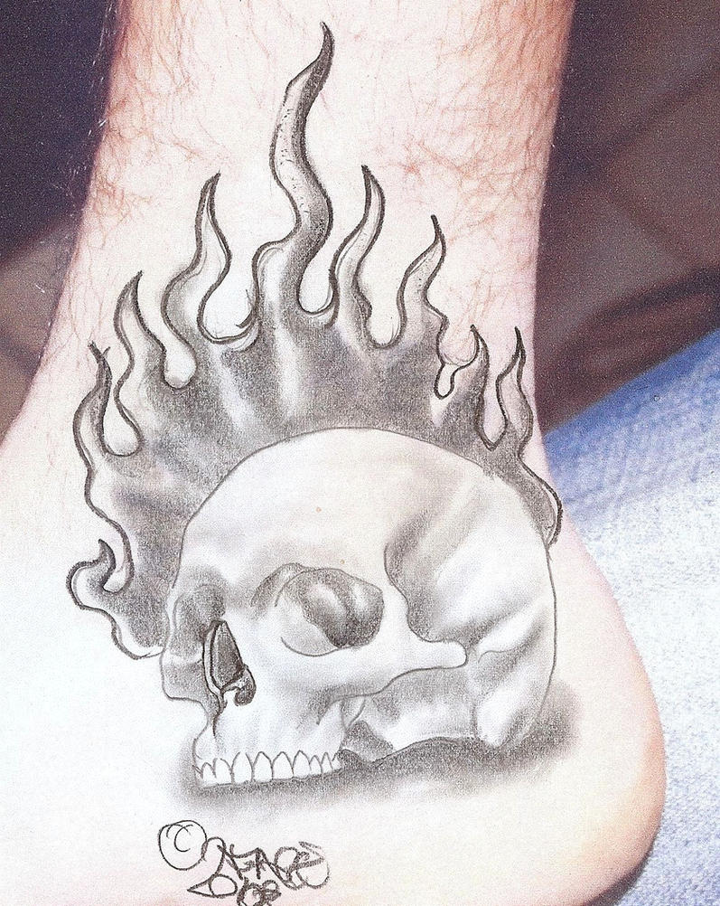 Flames Skull Tattoo Design by