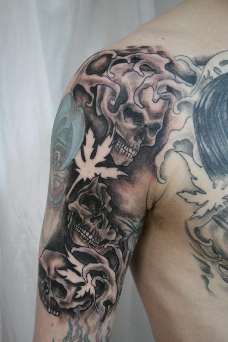 Skulls bg tat by 2face tattoo on deviantart for Two faced tattoo