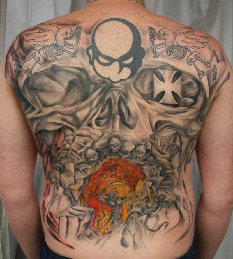 Depression Is Hell Tattoo Submit Your Tattoo: Backpiece Ready Big Skull Hell By 2Face-Tattoo On DeviantArt