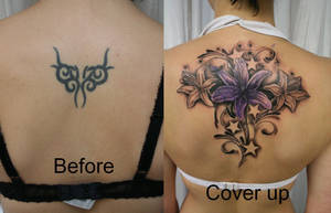 Cover up Flowers Stars Color by 2Face-Tattoo