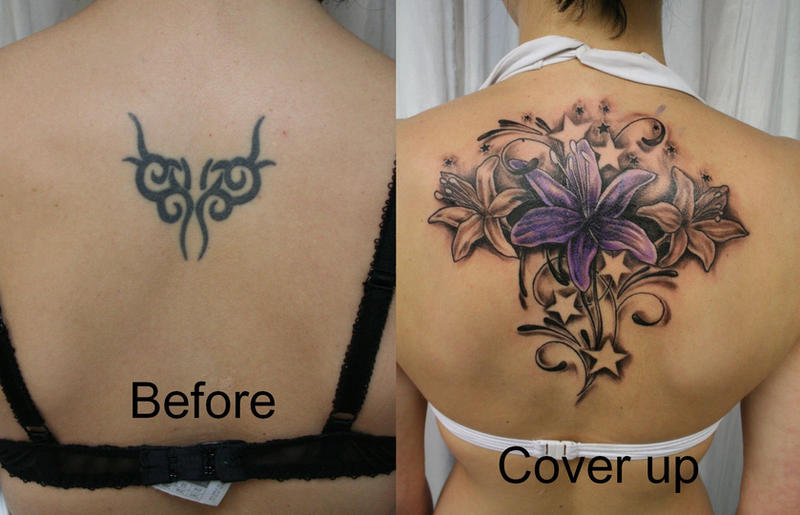 flower tattoo. Cover up Flowers Stars Color - flower tattoo