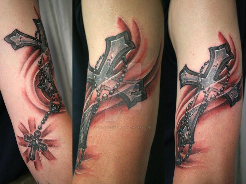 Cross shine rosary tattoo by 2face tattoo on deviantart for Cross and rosary tattoo