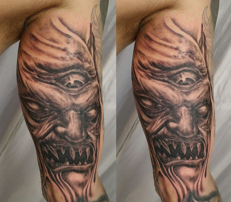 Horror demon face eye tat by 2face tattoo on deviantart for Demon half sleeve tattoos