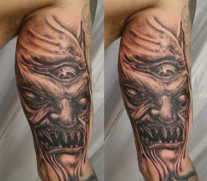 horror demon face eye tat by 2face tattoo on deviantart. Black Bedroom Furniture Sets. Home Design Ideas