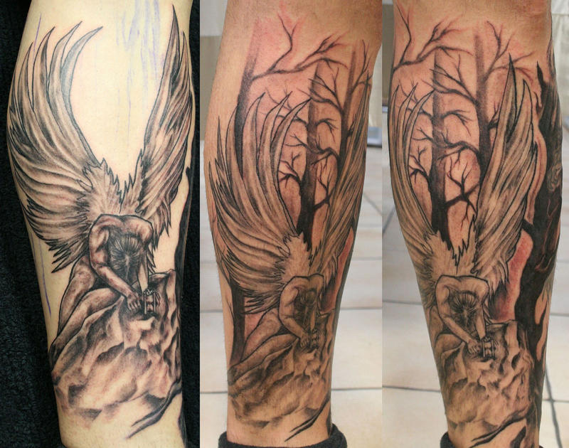 big angel and background tat by 2face tattoo on deviantart