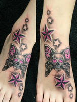 Butterflyskull Stars  pink TaT by 2Face-Tattoo