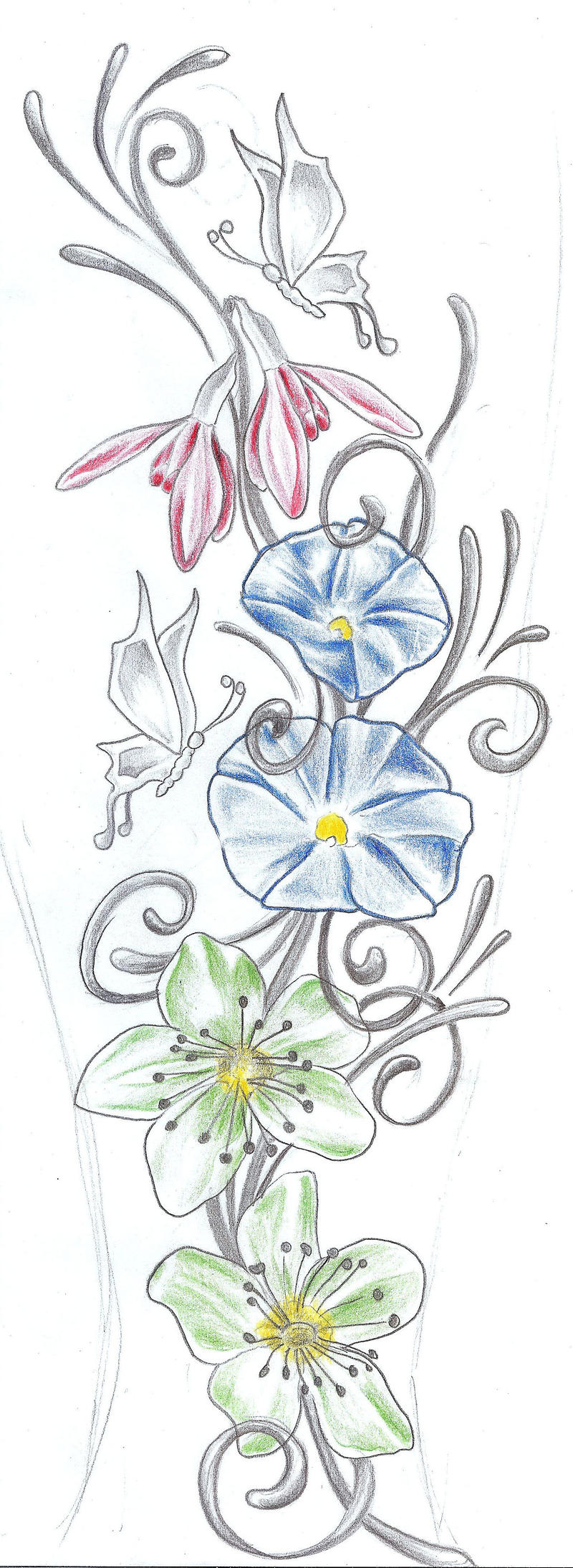 butterflies flowers tat design by 2face tattoo on deviantart. Black Bedroom Furniture Sets. Home Design Ideas