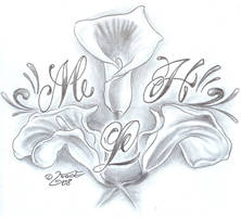 Flower chicano Letter Design by 2Face-Tattoo