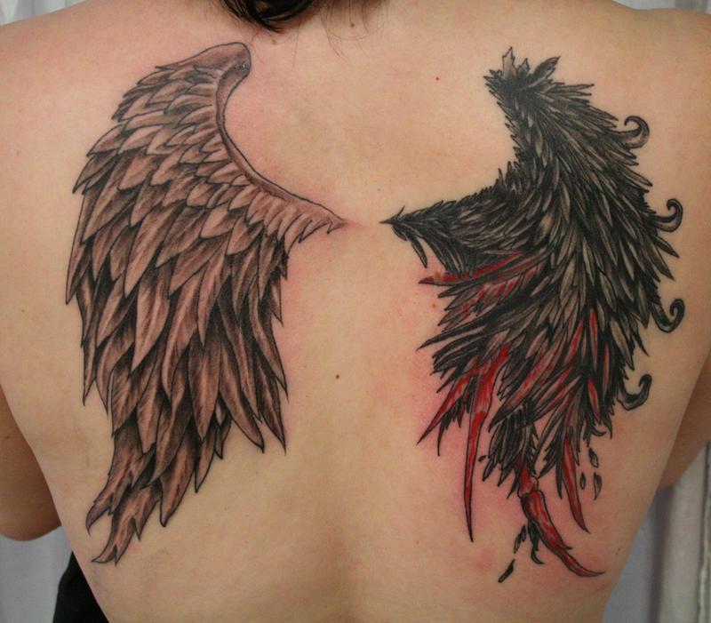 Angel Devil Bloody Wing TaT by 2Face-Tattoo on DeviantArt