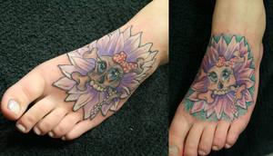 Girly Skull Flower Bling Bling