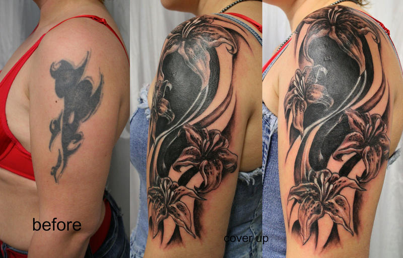 Tribal cover up tat flowers by 2face tattoo on deviantart for Tribal tattoos for cover up